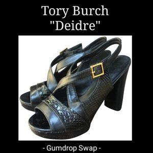 Tory Burch 10.5 Deidre Snakeskin Platform Heels